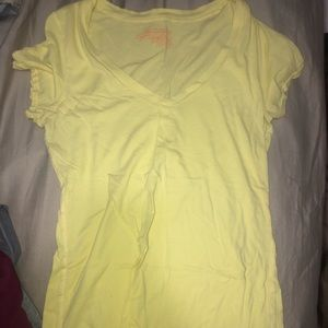 Yellow AE V neck t shirt.